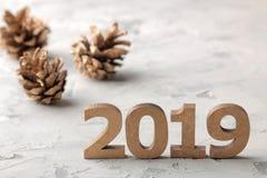 Nieuw jaar 2019 Kerstmis Vakantie Samenstelling met nummer 2019 close-up en kegels op een lichte achtergrond stock afbeeldingen