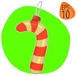 Nieuw jaar of Kerstmis vectorillustratie decoratief speelgoed Stock Afbeeldingen