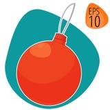 Nieuw jaar of Kerstmis vectorillustratie decoratief speelgoed Stock Foto