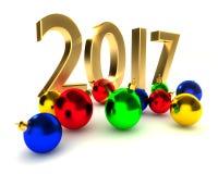 Nieuw jaar 2017, Kerstmisballen Stock Afbeelding