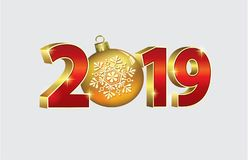 Nieuw jaar 2019 Kerstmisbanner in 3d beeld Vector illustratie vector illustratie