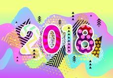 Nieuw jaar 2018 Kleurrijk ontwerp 3d golvende achtergrond Vector Stock Foto's
