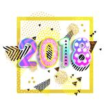 Nieuw jaar 2018 Kleurrijk ontwerp 3D vector Als achtergrond Vierkant Affiche Dynamisch Effect vector illustratie