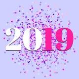 2019, Nieuw jaar, kleurrijke confettienvector stock foto's