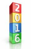 Nieuw jaar 2016 Kleurrijke kubussen royalty-vrije illustratie