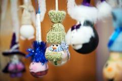 Nieuw-jaar met de hand gemaakt speelgoed De sneeuwmens van Nice Stock Fotografie