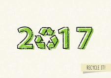 Nieuw jaar 2017 met kringloopteken vectorillustratie vector illustratie