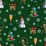 Nieuw jaar naadloos patroon Stock Foto's