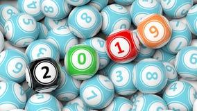 Nieuw jaar 2019 op bingoballen De achtergrond van de de ballenhoop van de Bingoloterij 3D Illustratie Stock Afbeeldingen