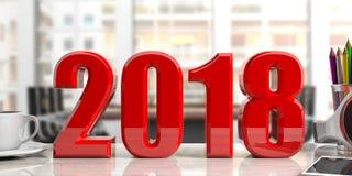 Nieuw jaar 2018 op een bureau 3D Illustratie Royalty-vrije Stock Foto