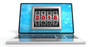 Nieuw jaar 2018 op het laptop ` s scherm 3D Illustratie Stock Foto