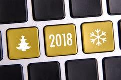 Nieuw jaar 2018 op het toetsenbord Royalty-vrije Stock Afbeeldingen