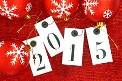 Nieuw jaar 2015 op markeringen en Kerstmisballen Royalty-vrije Stock Fotografie