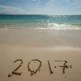Nieuw jaar 2017 op strand Stock Afbeelding