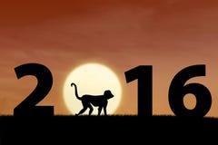 Nieuw jaar van 2016 met aap Stock Fotografie