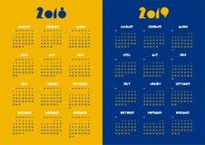Nieuw jaar vector de kalender moderne eenvoudige levendige kleur van 2018 en van 2019 Stock Foto