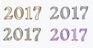 Nieuw jaar in verschillende versies Stock Afbeelding