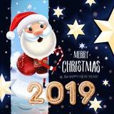 2019 Nieuw jaar & Vrolijk Kerstmissymbool Santa Claus op een de winterachtergrond vector illustratie