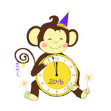 Nieuw jaar Weinig klok en sterretjes van de aapholding Royalty-vrije Stock Afbeeldingen
