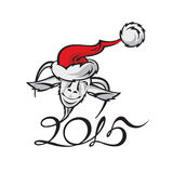 Nieuw jaarbeeld met een geit Stock Foto