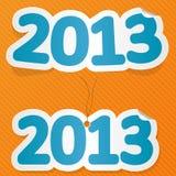 Nieuw jaaretiket op gele achtergrond. Royalty-vrije Stock Afbeeldingen