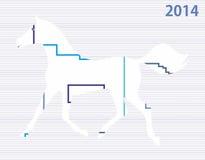 Nieuw jaarpaard 2014 stock illustratie