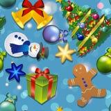 Nieuw jaarpatroon met sneeuwman, Kerstboom, peperkoekmens Gift en Klok, boog Royalty-vrije Stock Foto