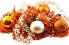 Nieuw jaarspeelgoed en klatergoud Stock Fotografie