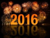 2016 nieuw jaarvuurwerk Stock Afbeeldingen
