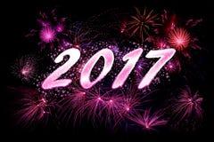 2017 nieuw jaarvuurwerk Stock Afbeelding