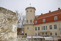 Nieuw kasteel in Cesis Het ws bouwde 18de eeuw in Nu huisvest het Geschiedenis en Art Museum van Cesis Stock Foto's