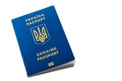 Nieuw Oekraïens blauw internationaal biometrisch die paspoort met identificatiespaander en vingerafdrukken op wit met exemplaarru Stock Fotografie
