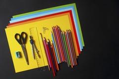 Nieuw perspectief van schoolbehoeften stock afbeelding