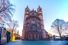 Nieuw-Romaanse Kathedraal in Wormen, Wormser-Dom Stock Fotografie