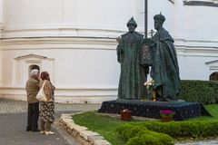 Nieuw Romanov-Monument bij Novospassky-Klooster royalty-vrije stock foto's