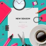 Nieuw seizoenmalplaatje met bureaulevering Stock Foto's
