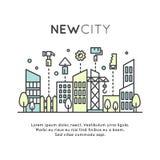 Nieuw Stadsgebied of District, Aanpassing, Huisvesting, Bouw en de Bouw royalty-vrije illustratie
