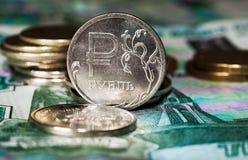 Nieuw symbool één roebelmuntstukken Stock Foto