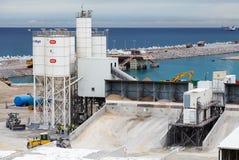 Nieuw terminalsgebied in aanbouw in Haven Tanger Med 2 Stock Afbeeldingen
