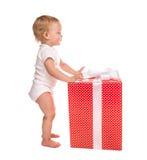 Nieuw van de het kindbaby van het jaar 2016 concept de peuterjong geitje met Kerstmis pres Stock Foto's