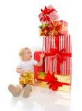 Nieuw van de het kindbaby van het jaar 2016 concept de peuterjong geitje met Kerstmis pres Stock Fotografie