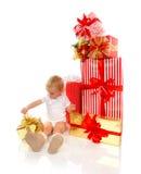 Nieuw van de het kindbaby van het jaar 2016 concept de peuterjong geitje met Kerstmis pres Stock Foto