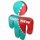 Nieuw versus Oud Person Update Modern Change Stock Fotografie