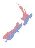 Nieuw Zeeland Dot Map Red And Blue Stock Afbeelding