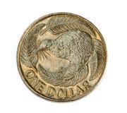 Nieuw Zeeland het Muntstuk van Één Dollar Stock Fotografie