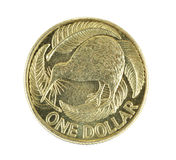 Nieuw Zeeland het Muntstuk van Één Dollar dat op Wit wordt geïsoleerdi Stock Fotografie