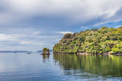 Nieuw Zeeland, Stewart Island, Patterson Inlet: 16 februari, 2016 Stock Foto