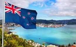 Nieuw Zeeland - Vlag - Wellington stock afbeeldingen