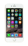 Nieuwe Apple-iPhone 6 met iOS 8 geïsoleerde het schermvertoning Royalty-vrije Stock Fotografie