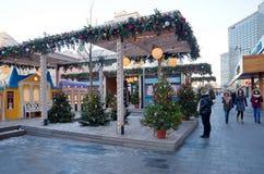 Nieuwe Arbat-straat in Kerstmis en Nieuwe jaarvakantie, Moskou, Rusland Royalty-vrije Stock Afbeeldingen